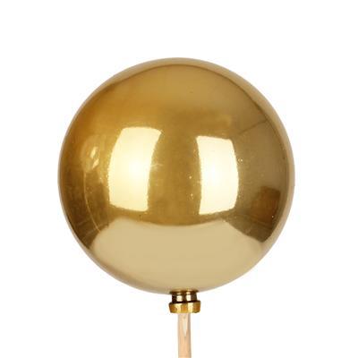 <h4>Bijsteker kerstbal parelmoer Ø6cm+50cm stok goud</h4>