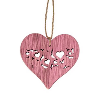 <h4>Hanger heart full 7x7,5cm + 16cm touw roze</h4>