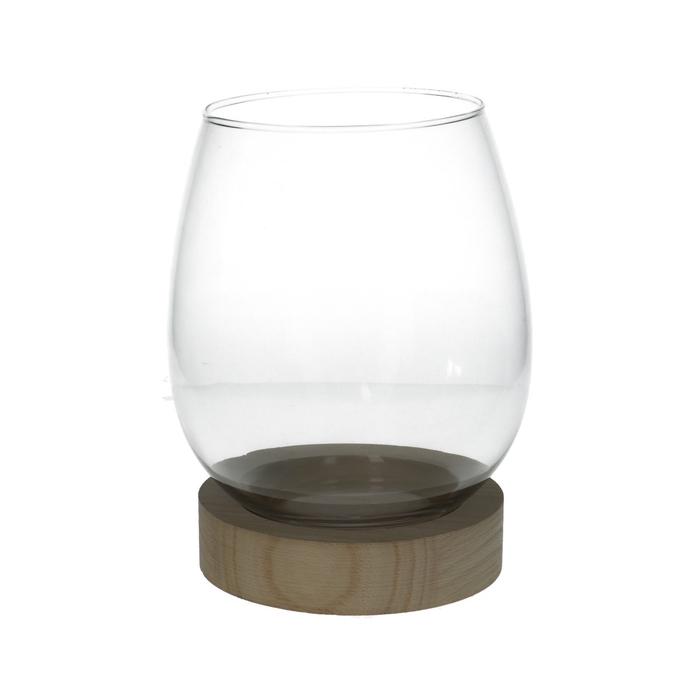 <h4>Glas Vaas+voet hout d18*27cm</h4>