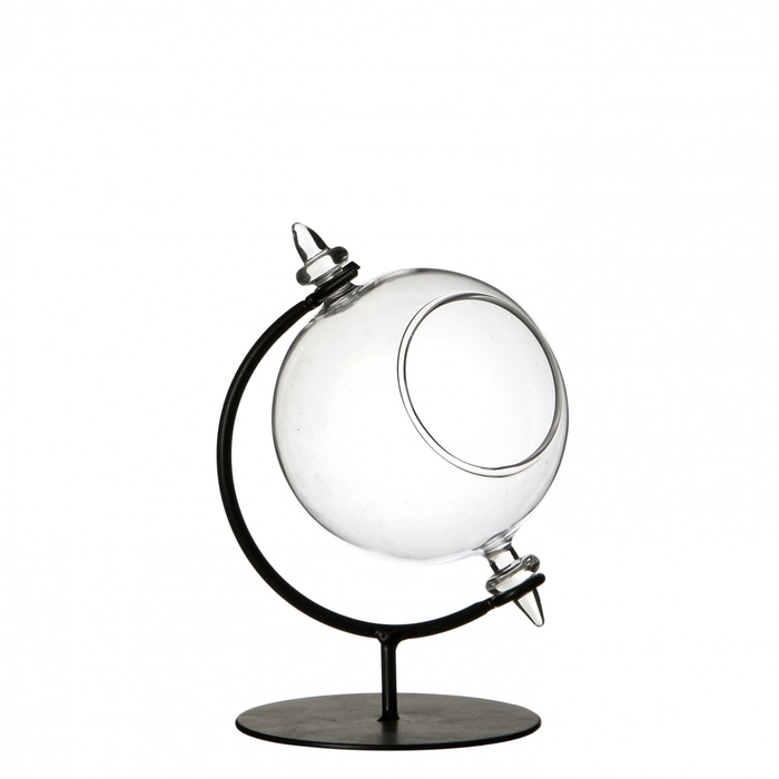 <h4>Glass Ball vase on stand open d8*12cm</h4>